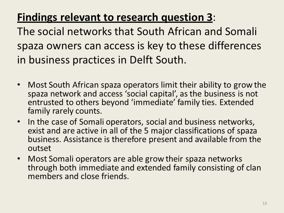 Findings relevant to research question 3: The social networks that South African and Somali spaza owners can access is key to these differences in business practices in Delft South.