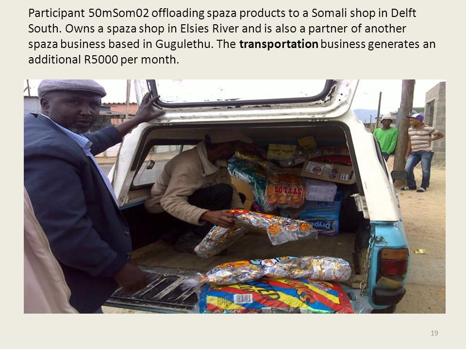 Participant 50mSom02 offloading spaza products to a Somali shop in Delft South.