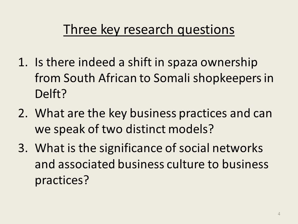Three key research questions