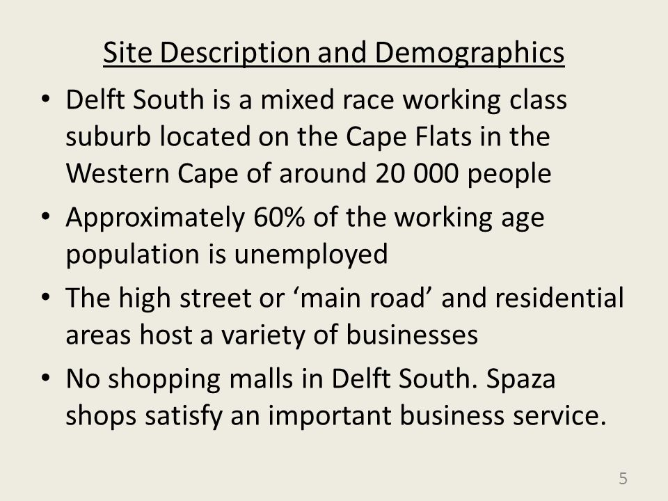 Site Description and Demographics