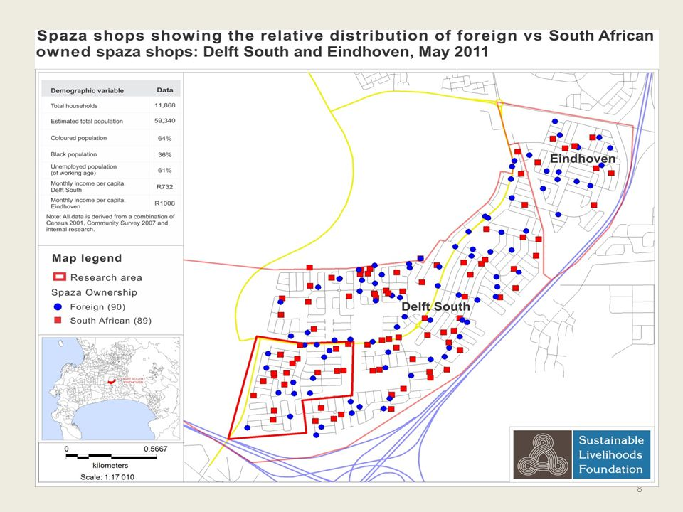 Explain legend: According to this map the case study area located in the southern most part of Delft South was one of the most densely populated in terms of spaza business.