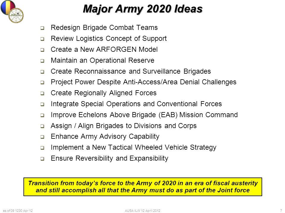 Major Army 2020 Ideas Redesign Brigade Combat Teams
