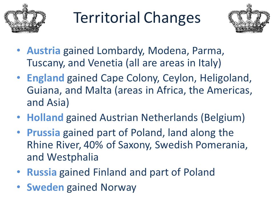 Territorial Changes Austria gained Lombardy, Modena, Parma, Tuscany, and Venetia (all are areas in Italy)