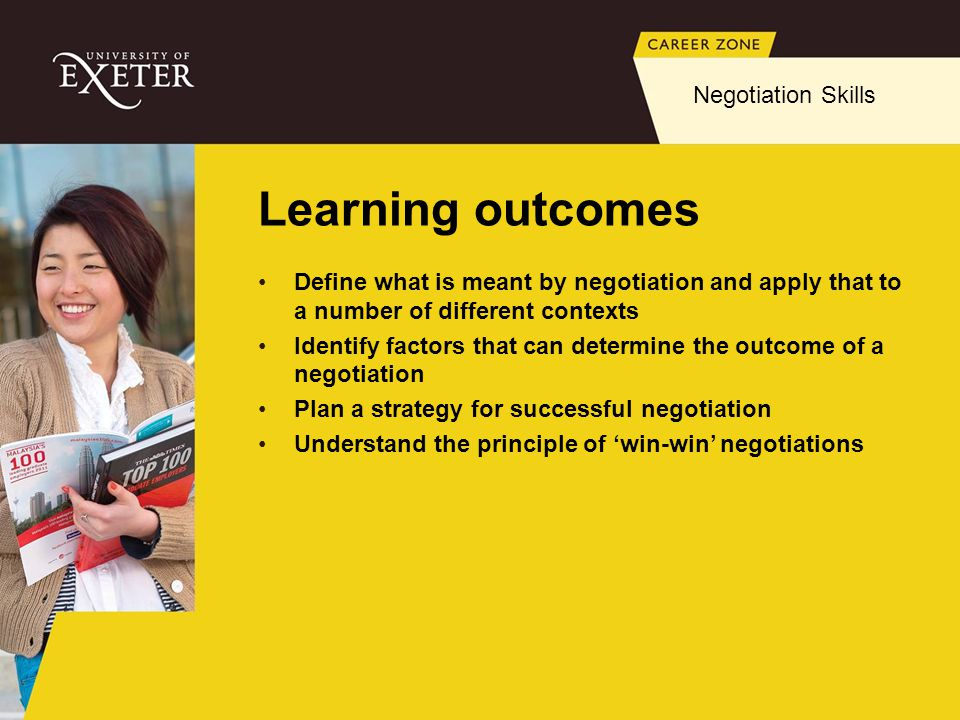 Learning outcomes Negotiation Skills