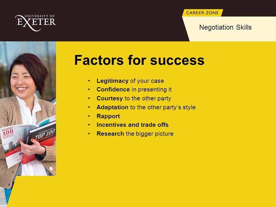 Factors for success Negotiation Skills Legitimacy of your case