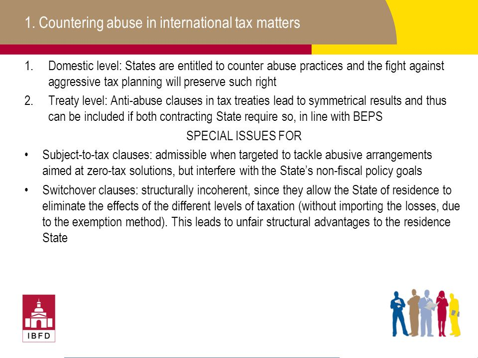 1. Countering abuse in international tax matters