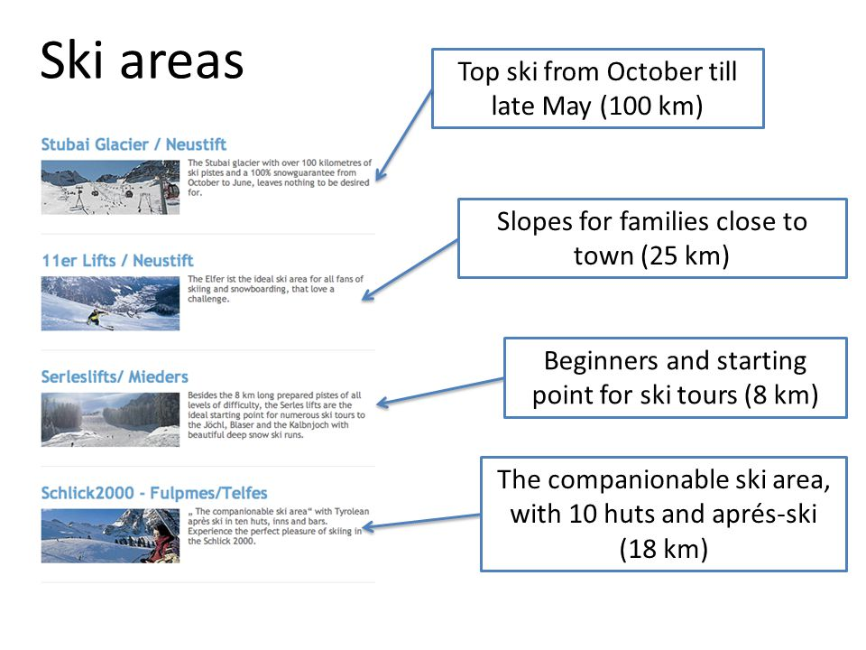 Ski areas Top ski from October till late May (100 km)