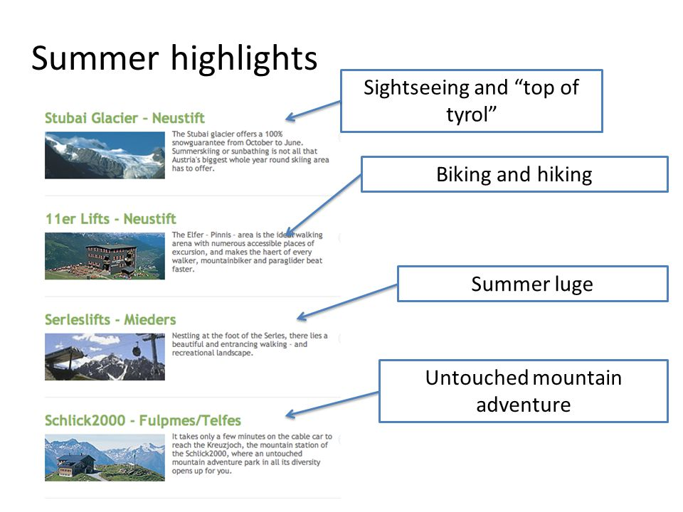 Summer highlights Sightseeing and top of tyrol Biking and hiking