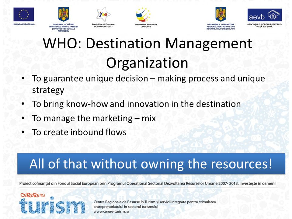 WHO: Destination Management Organization