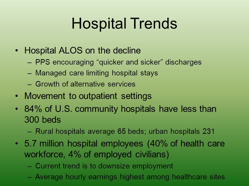 Hospital Trends Hospital ALOS on the decline