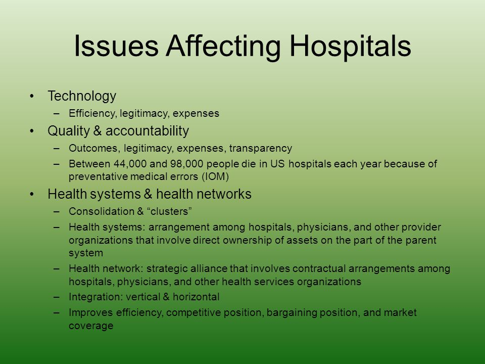 Issues Affecting Hospitals