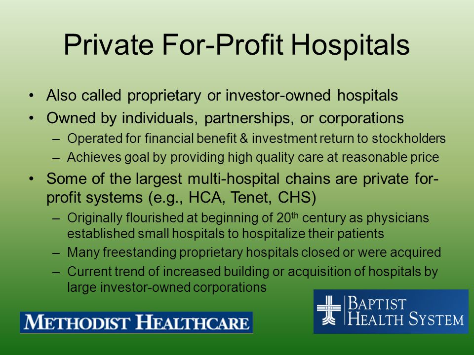 Private For-Profit Hospitals
