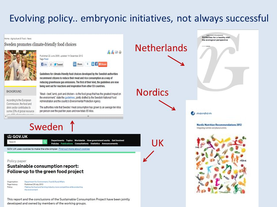 Evolving policy.. embryonic initiatives, not always successful