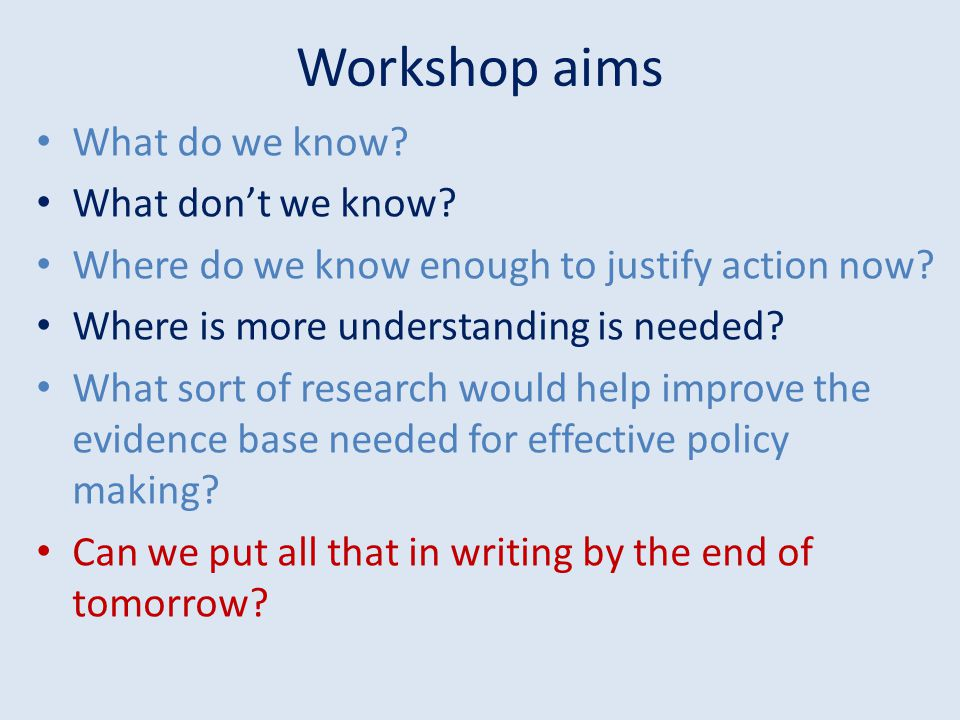 Workshop aims What do we know What don't we know