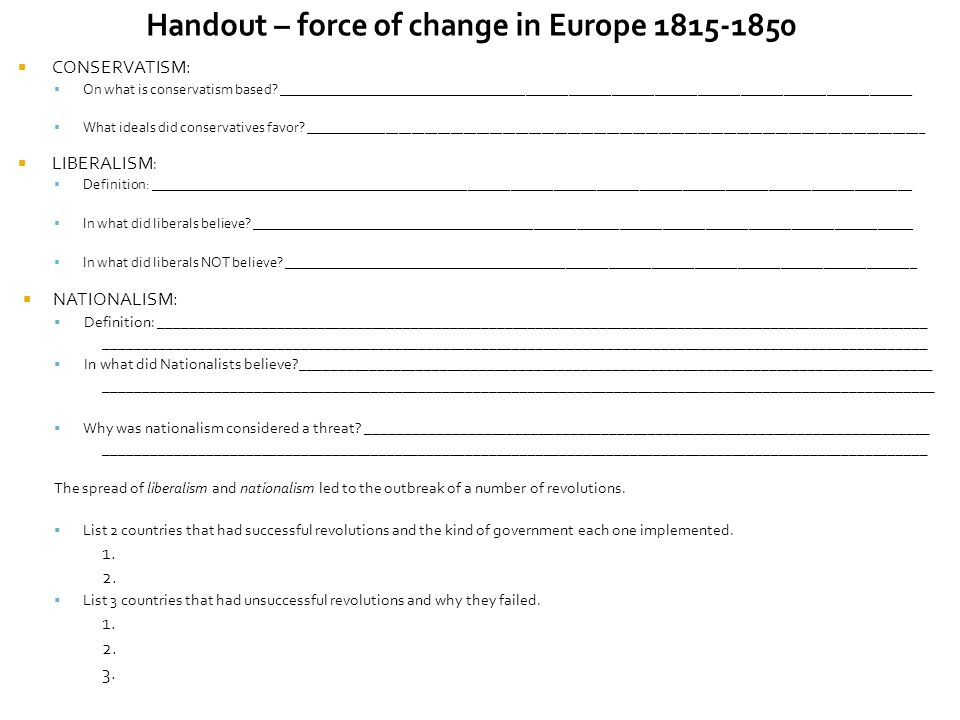 Handout – force of change in Europe 1815-1850