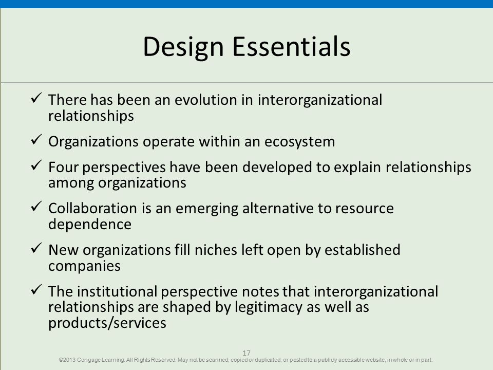 Design Essentials There has been an evolution in interorganizational relationships. Organizations operate within an ecosystem.