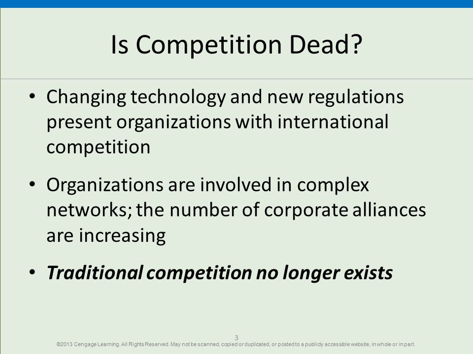 Is Competition Dead Changing technology and new regulations present organizations with international competition.
