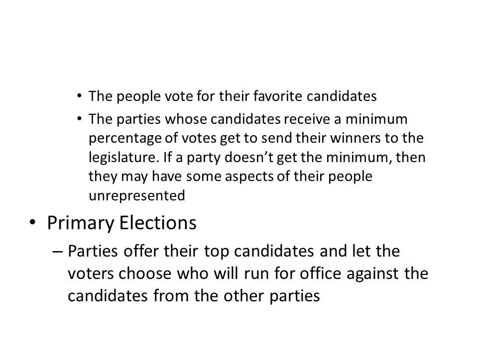 The people vote for their favorite candidates