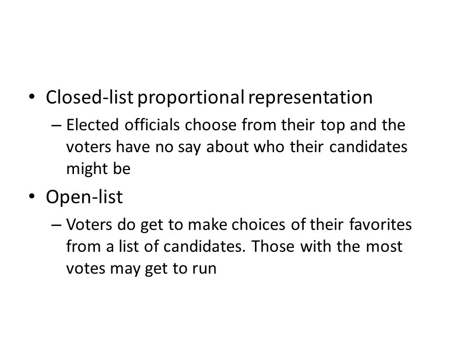 Closed-list proportional representation