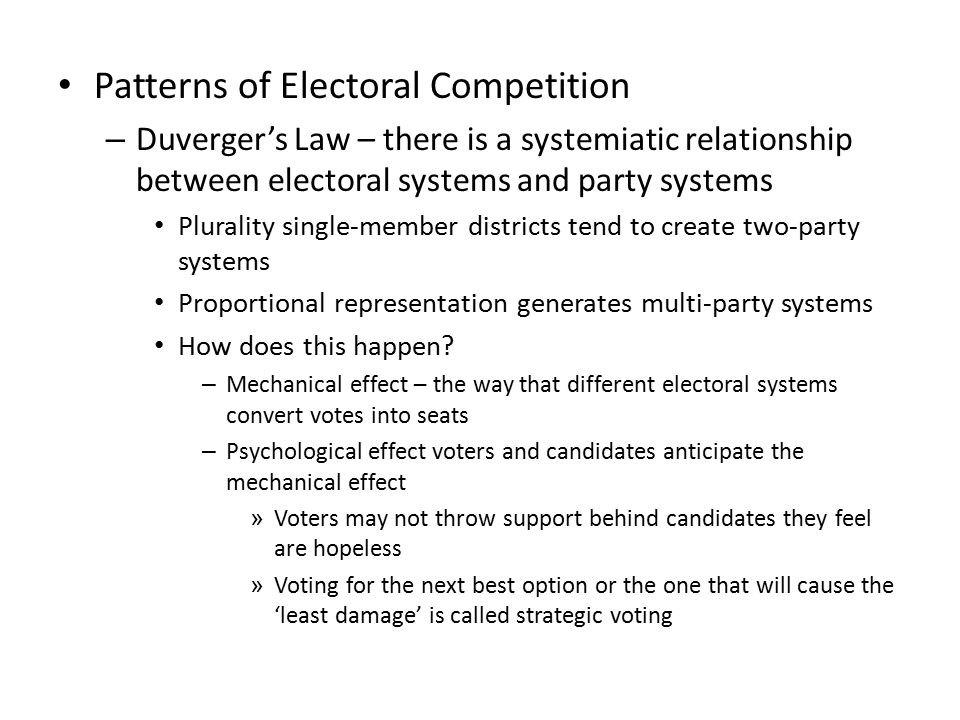 Patterns of Electoral Competition