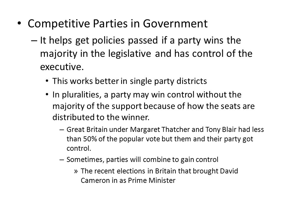 Competitive Parties in Government