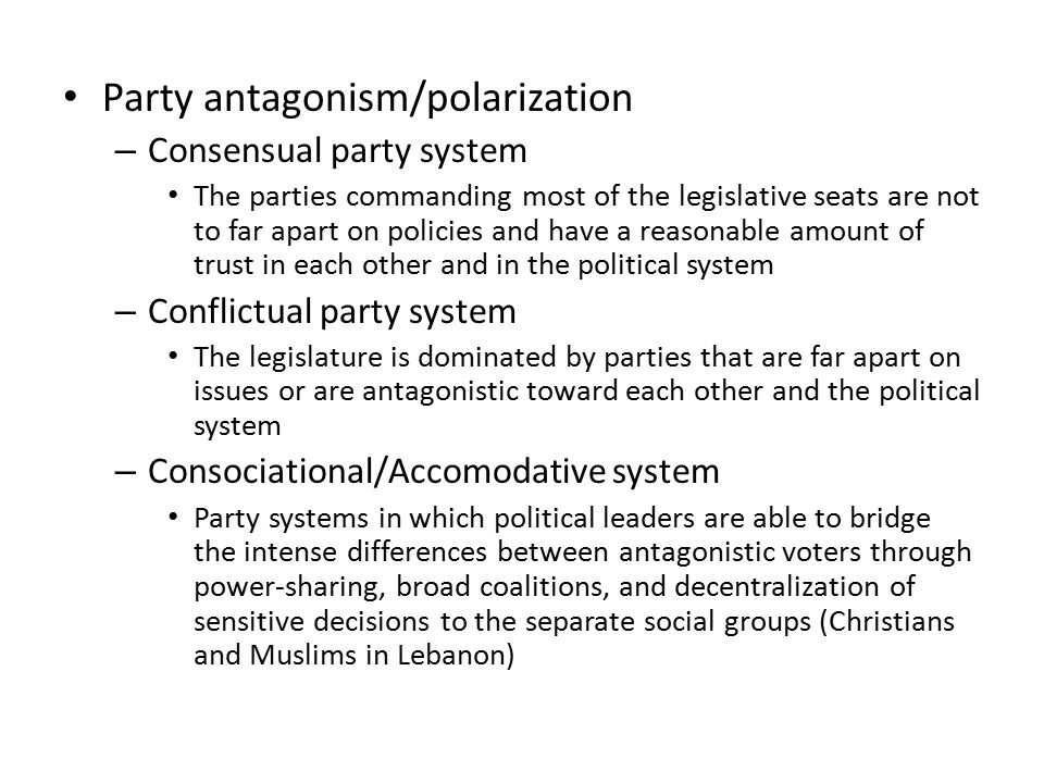 Party antagonism/polarization