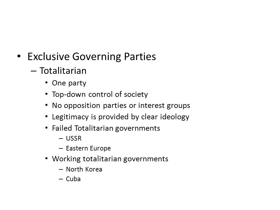 Exclusive Governing Parties
