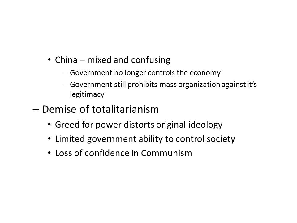 Demise of totalitarianism