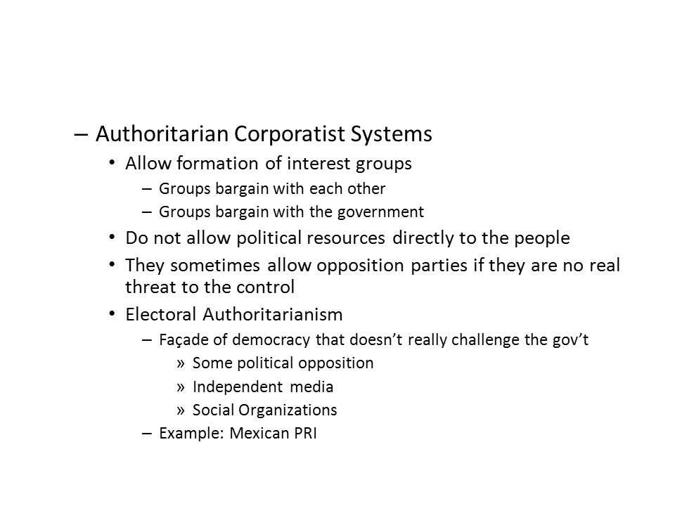 Authoritarian Corporatist Systems