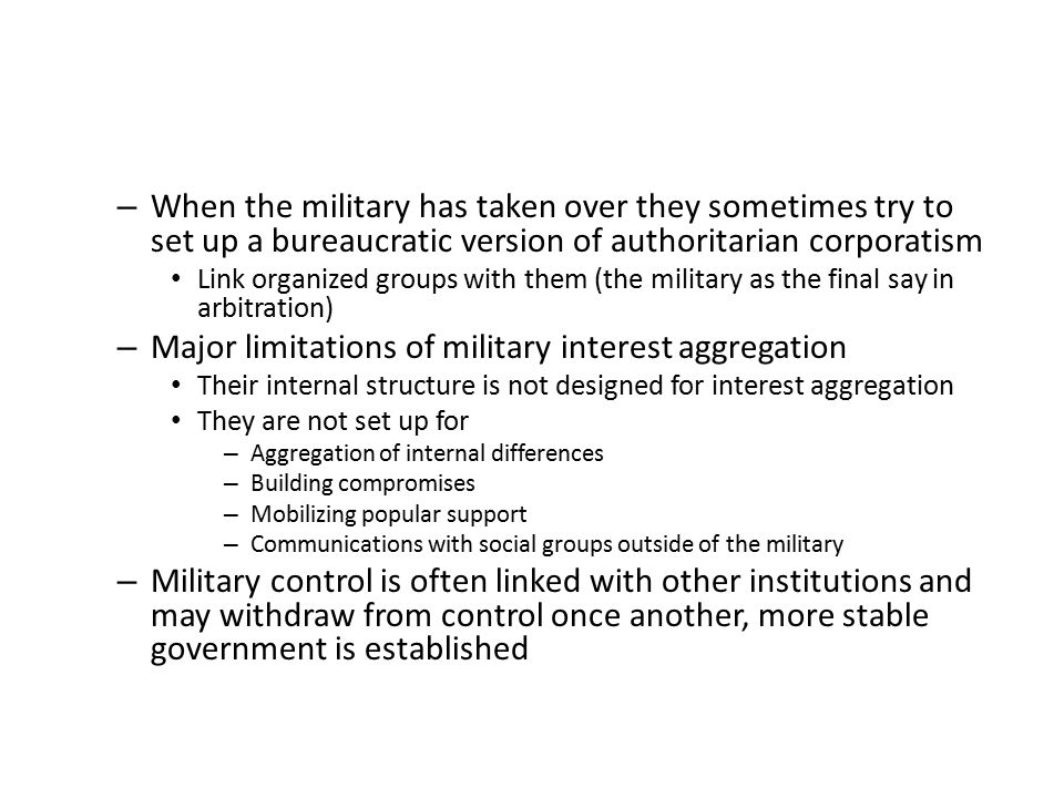 Major limitations of military interest aggregation