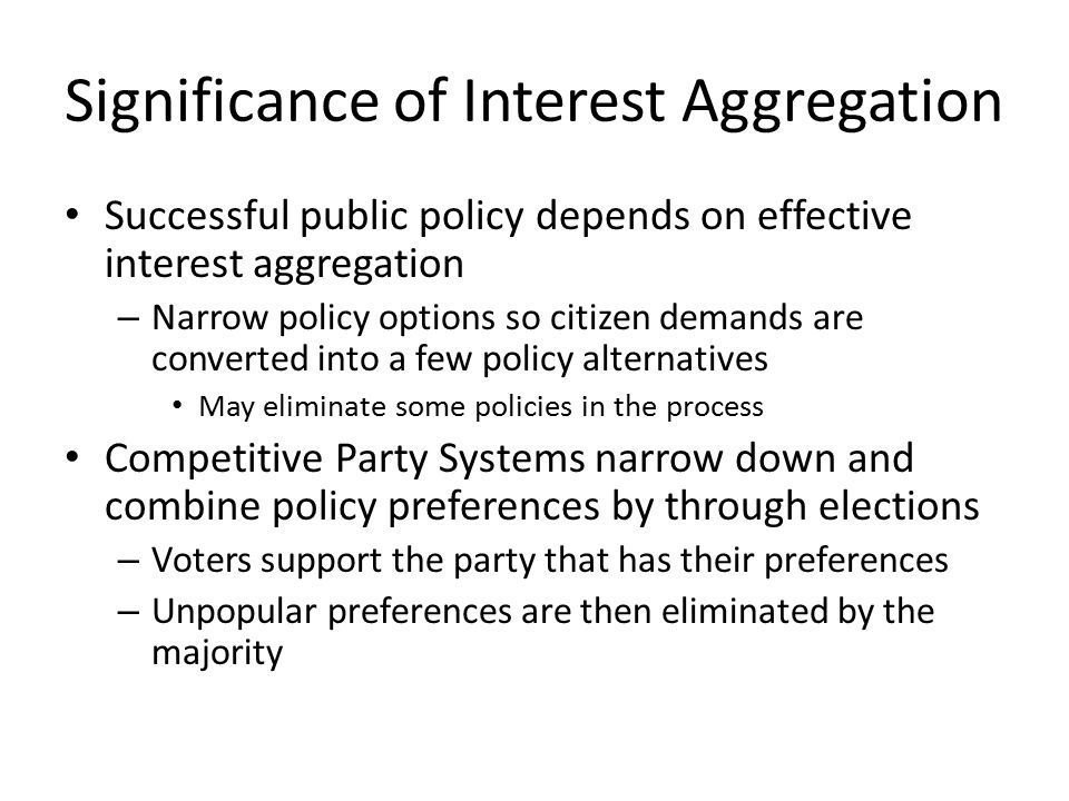 Significance of Interest Aggregation