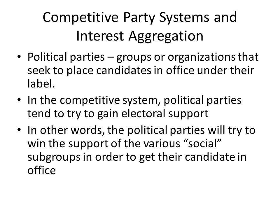 Competitive Party Systems and Interest Aggregation