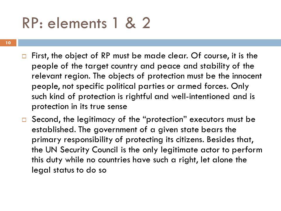 RP: elements 1 & 2