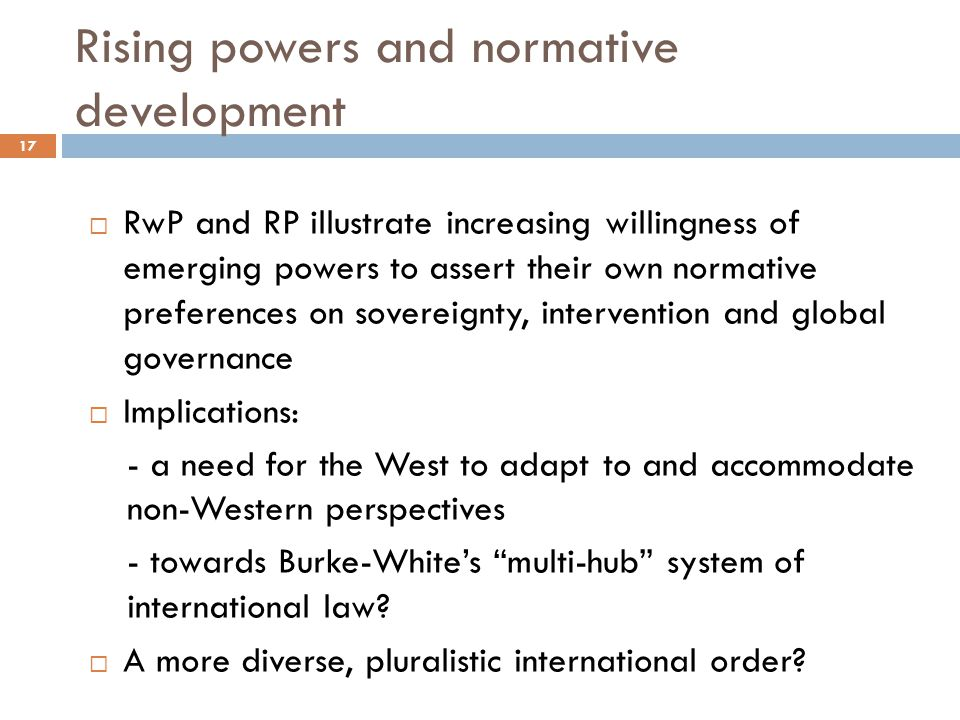 Rising powers and normative development