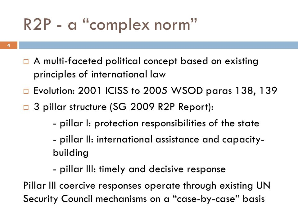 R2P - a complex norm A multi-faceted political concept based on existing principles of international law.