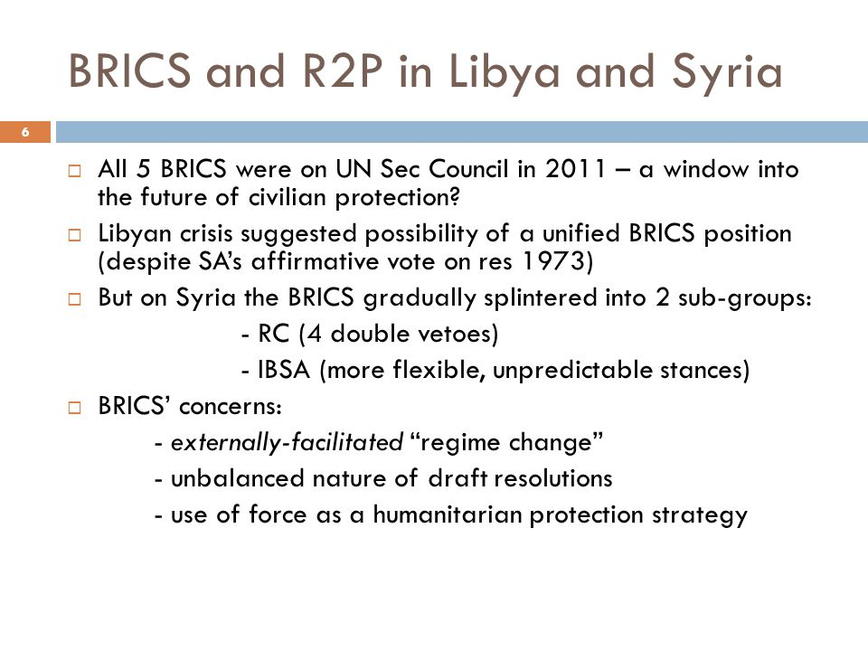 BRICS and R2P in Libya and Syria