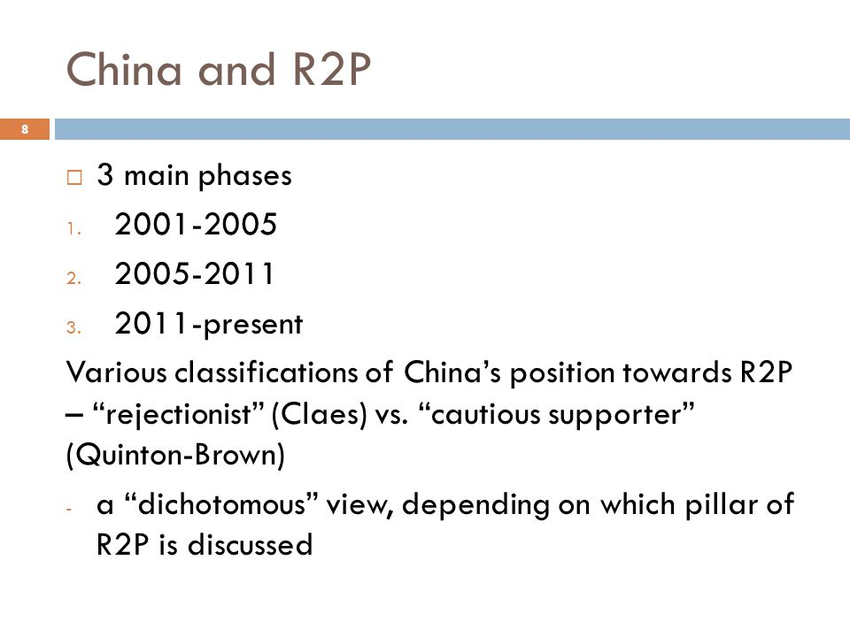 China and R2P 3 main phases 2001-2005 2005-2011 2011-present