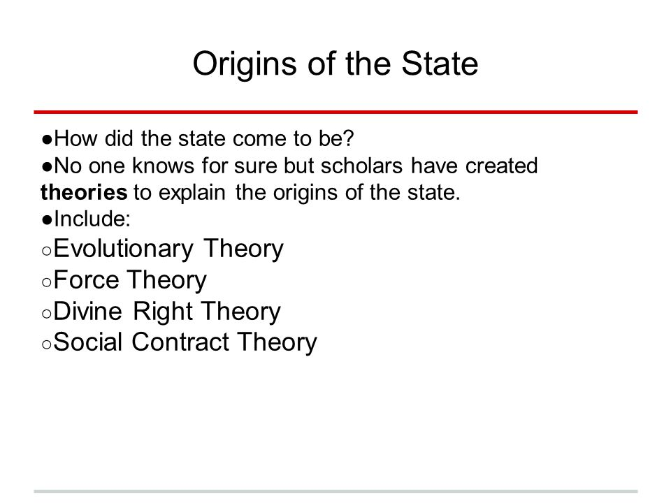 Origins of the State Evolutionary Theory Force Theory