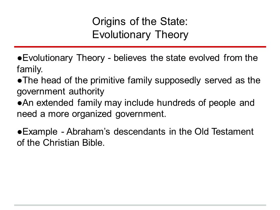 Origins of the State: Evolutionary Theory