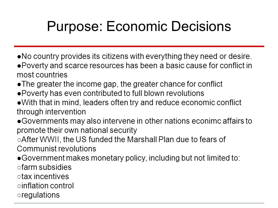 Purpose: Economic Decisions