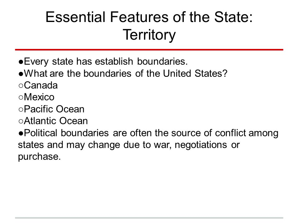 Essential Features of the State: Territory