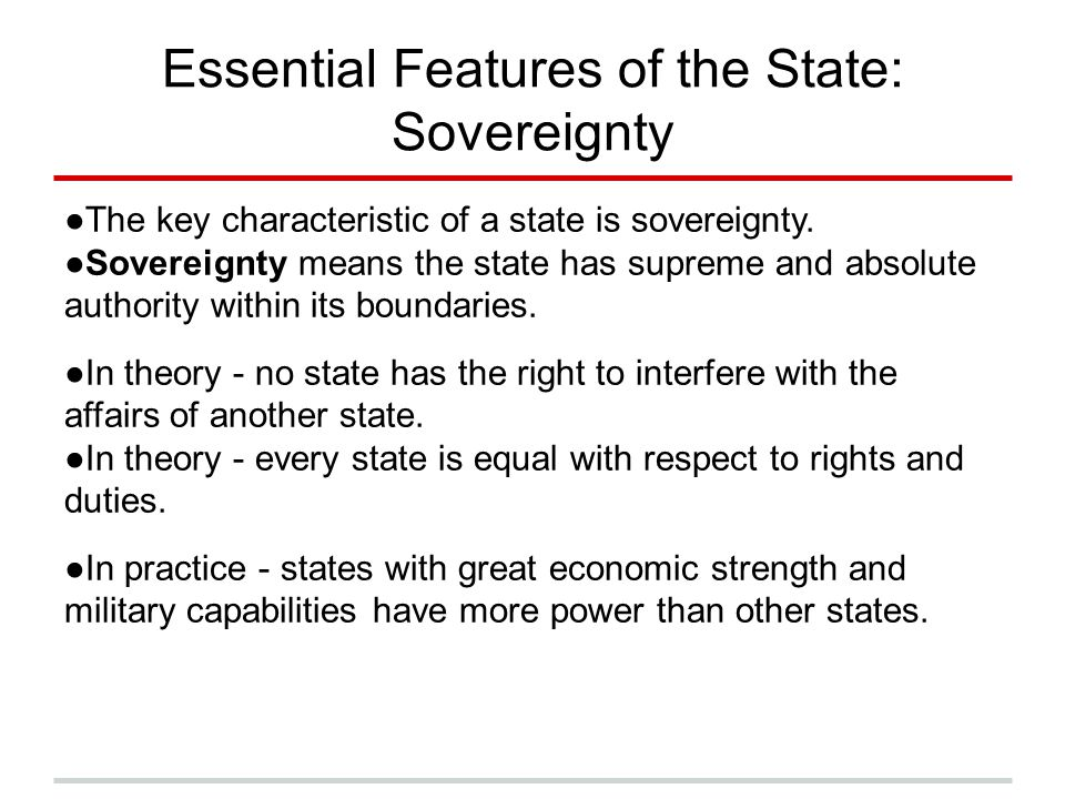 Essential Features of the State: Sovereignty