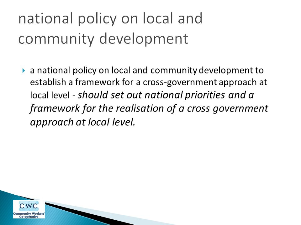 national policy on local and community development