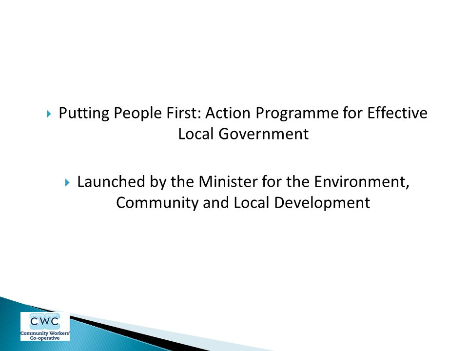 Putting People First: Action Programme for Effective Local Government