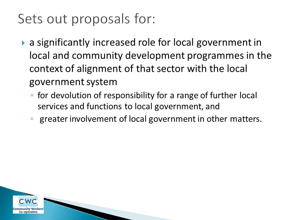 Sets out proposals for: