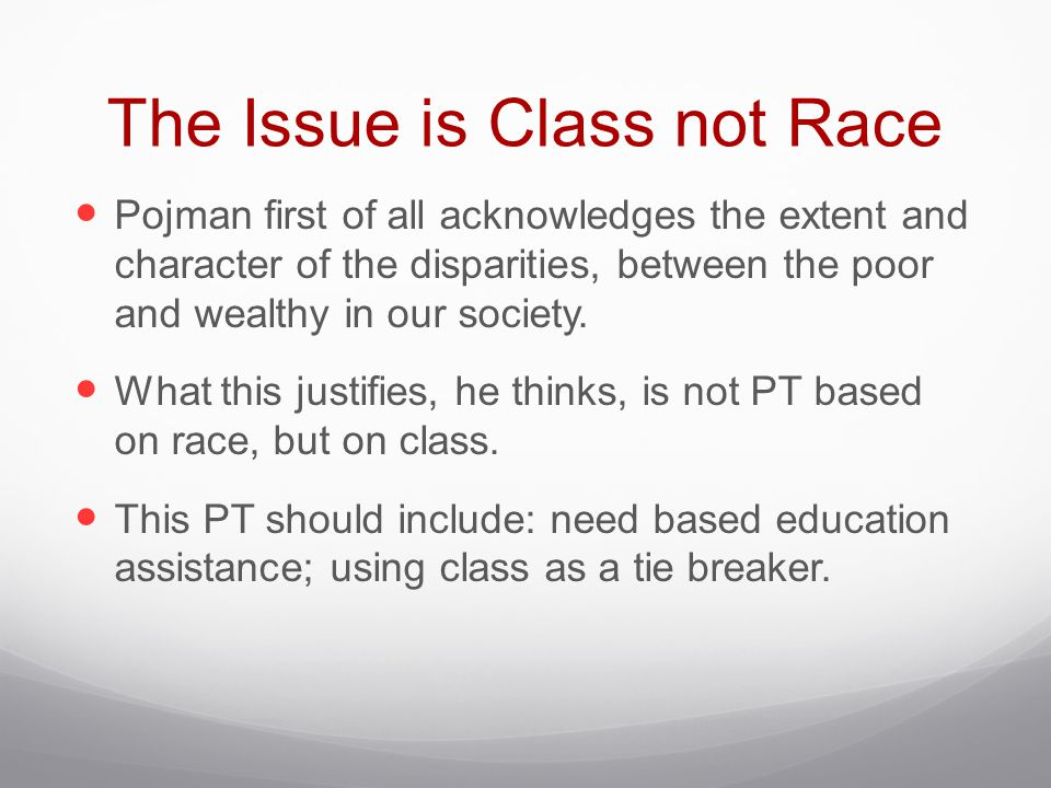 The Issue is Class not Race