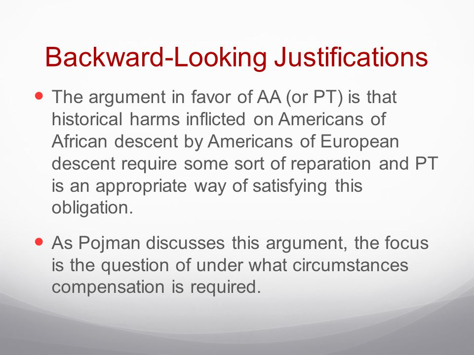 Backward-Looking Justifications