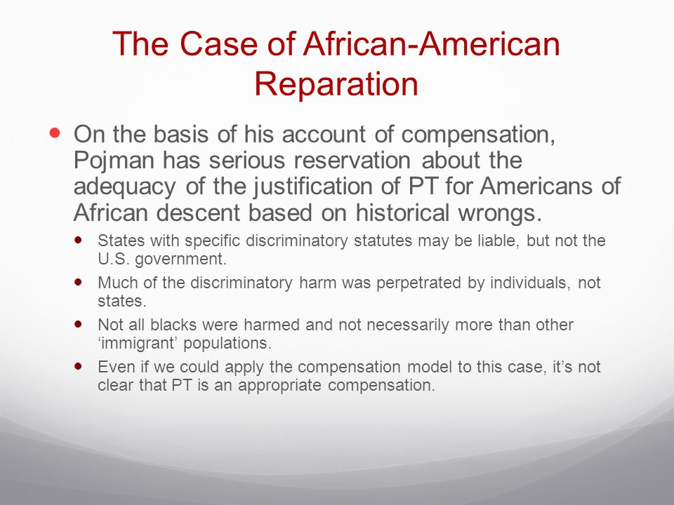 The Case of African-American Reparation