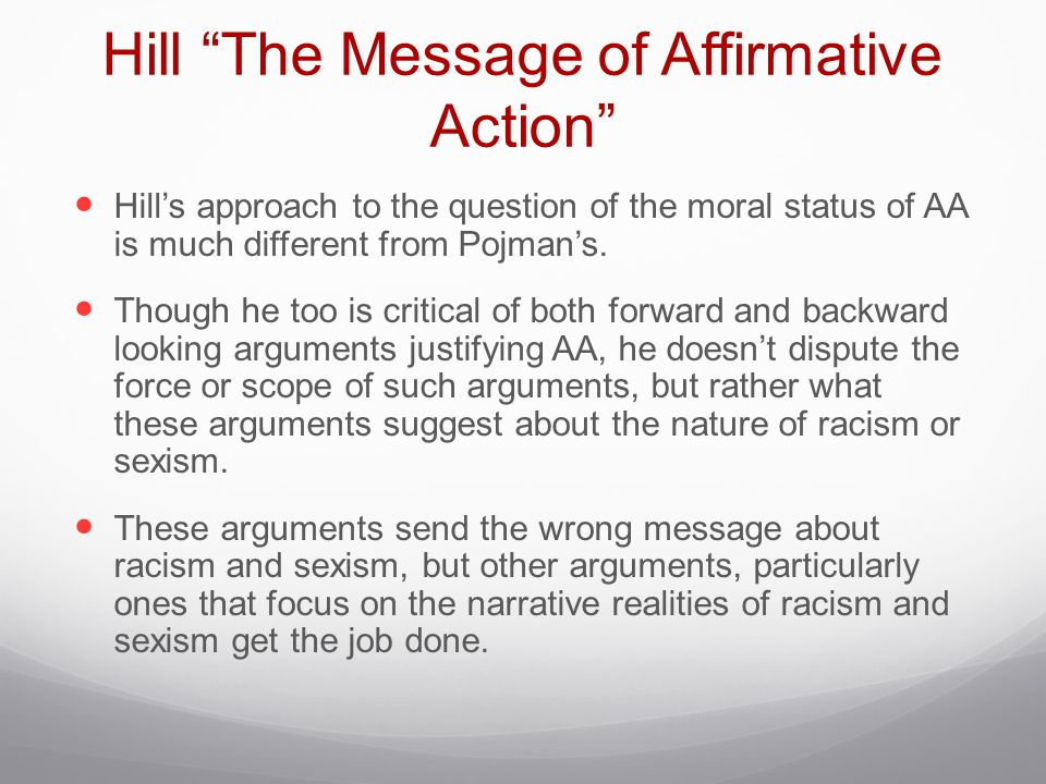 Hill The Message of Affirmative Action