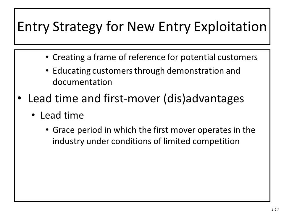 Entry Strategy for New Entry Exploitation